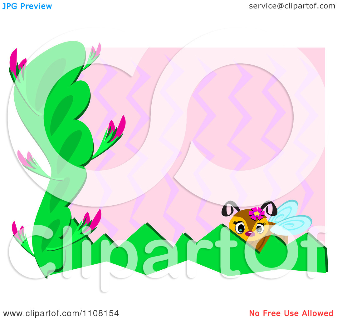 Clipart Bee And Plants With Pink Zig Zags And White Edges.
