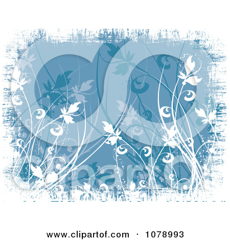 Clipart Blue Floral Grunge Background With White Edges.