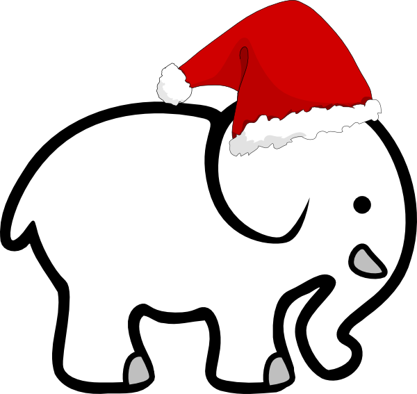 White Elephant With Santa Hat Clip Art at Clker.com.