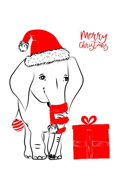 Best White Elephant Christmas Illustrations, Royalty.