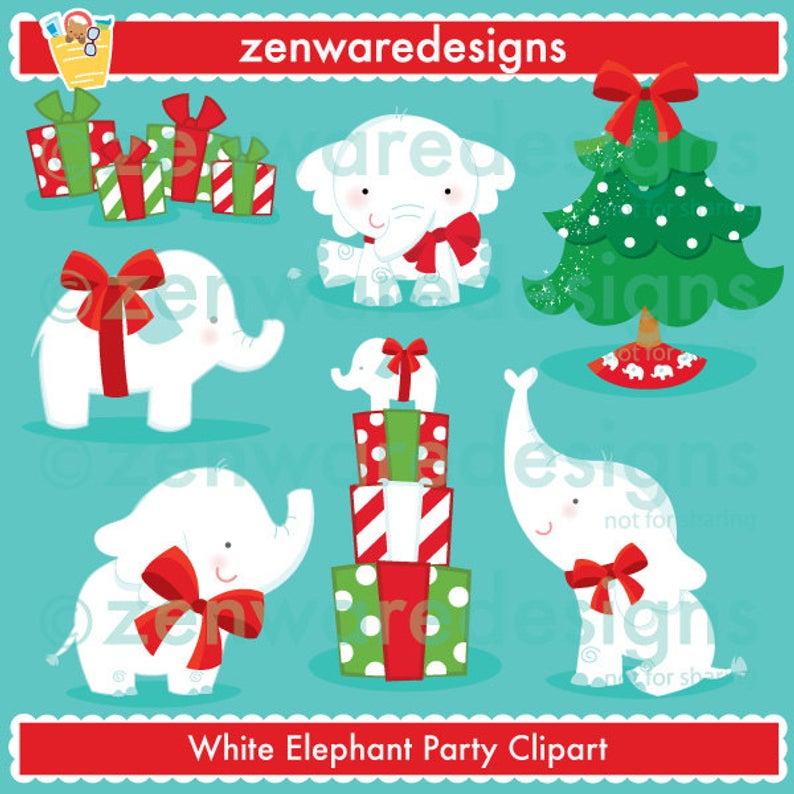 White Elephant Christmas Clipart.