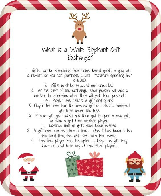 White Elephant Gift Exchange. A fun idea for an office party.