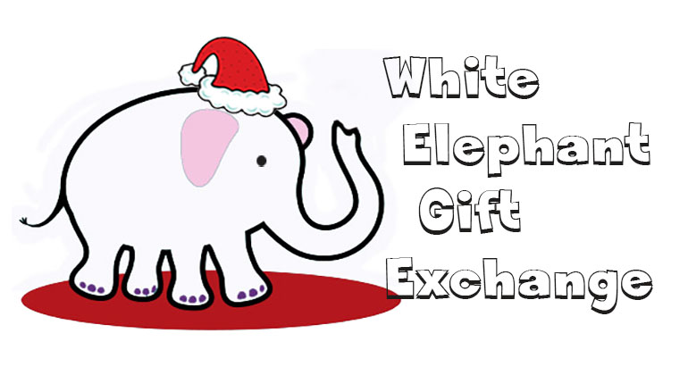 White Elephant Gift Exchange Clipart.