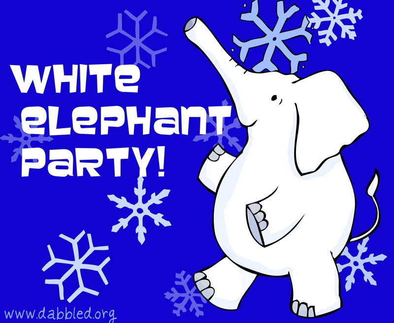 White Elephant Party Clipart.