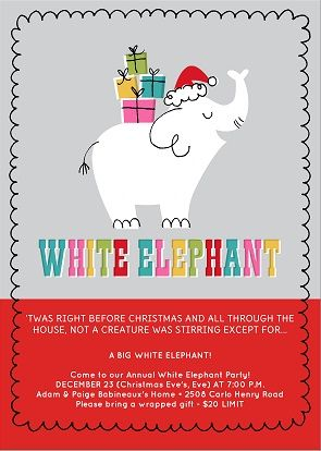 Funny White Elephant Christmas Party Invitation.