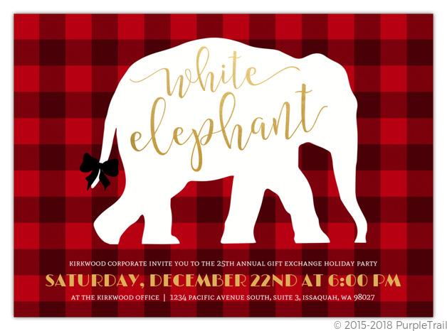 Plaid White Elephant Business Holiday Party Invitation.