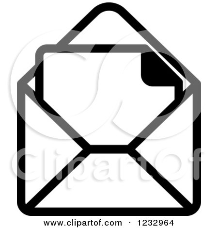 Clipart of a Black and White Envelope and Letter Business Icon.