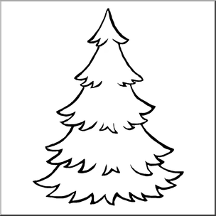 Evergreen Trees Clipart Black And White.