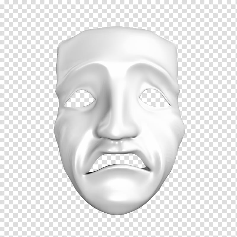 Sad Mask, white face mask illustration transparent.