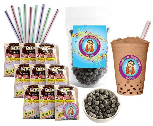 DeDe Instant Boba Tea Kit 9 Milk Tea Latte Drink Packets, Fat Straws & Boba.