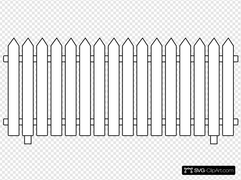 White Picket Fence Clip art, Icon and SVG.