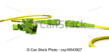 Clip Art of Fiber Optic Patchcord Over White.