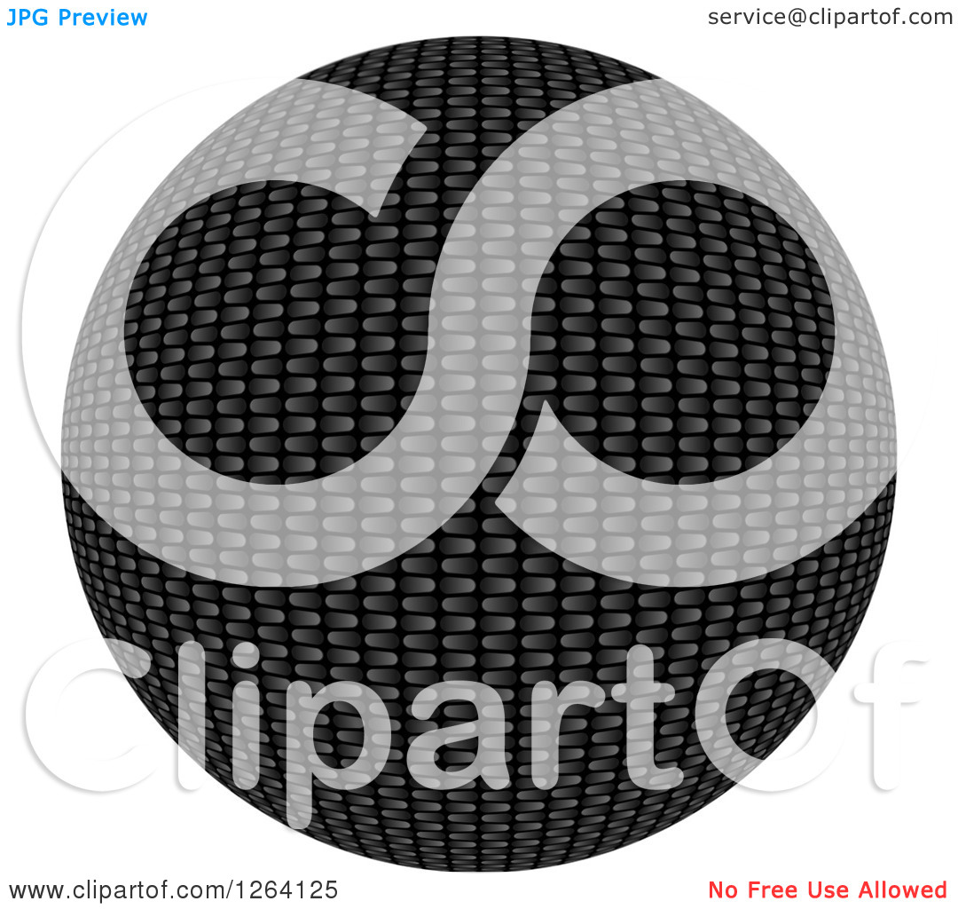 Clipart of a 3d Carbon Fiber Sphere on White.