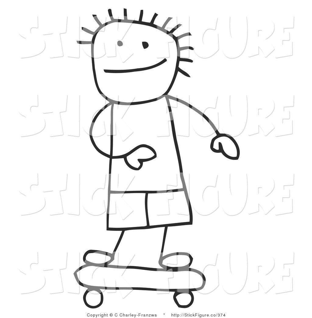 Boy stick figure clipart black and white.