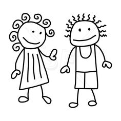 Stick Figure Kids Clipart Black And White.