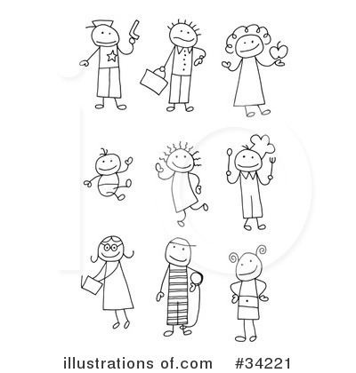 Black And White School Children Stick Figures Clipart.