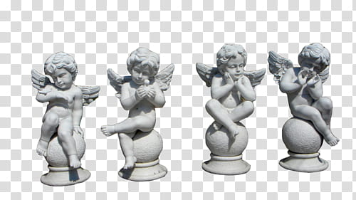 OO WATCHERS, four white angel figurines transparent.