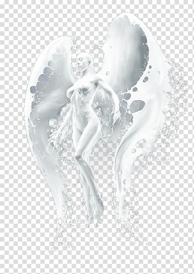 Angel Heart Black and white Figurine , Milk Girl transparent.