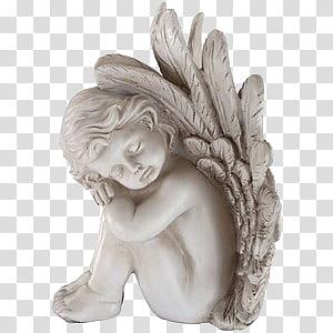 Spring YEAR ON DA, white angel figurine art transparent.