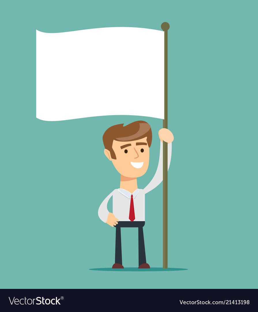 Businessman holds white flag of surrender hand.