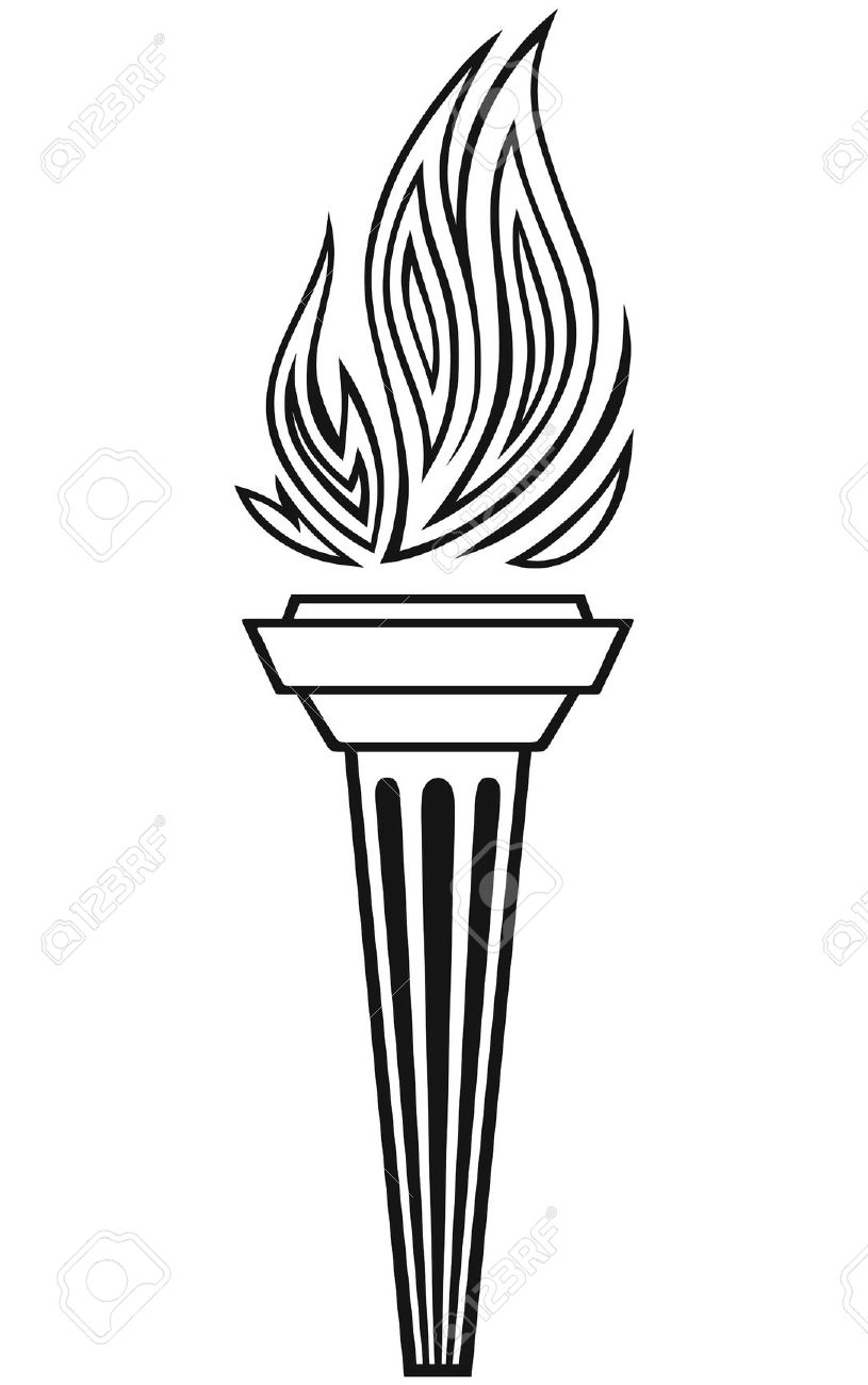 Torch Clipart Black And White.