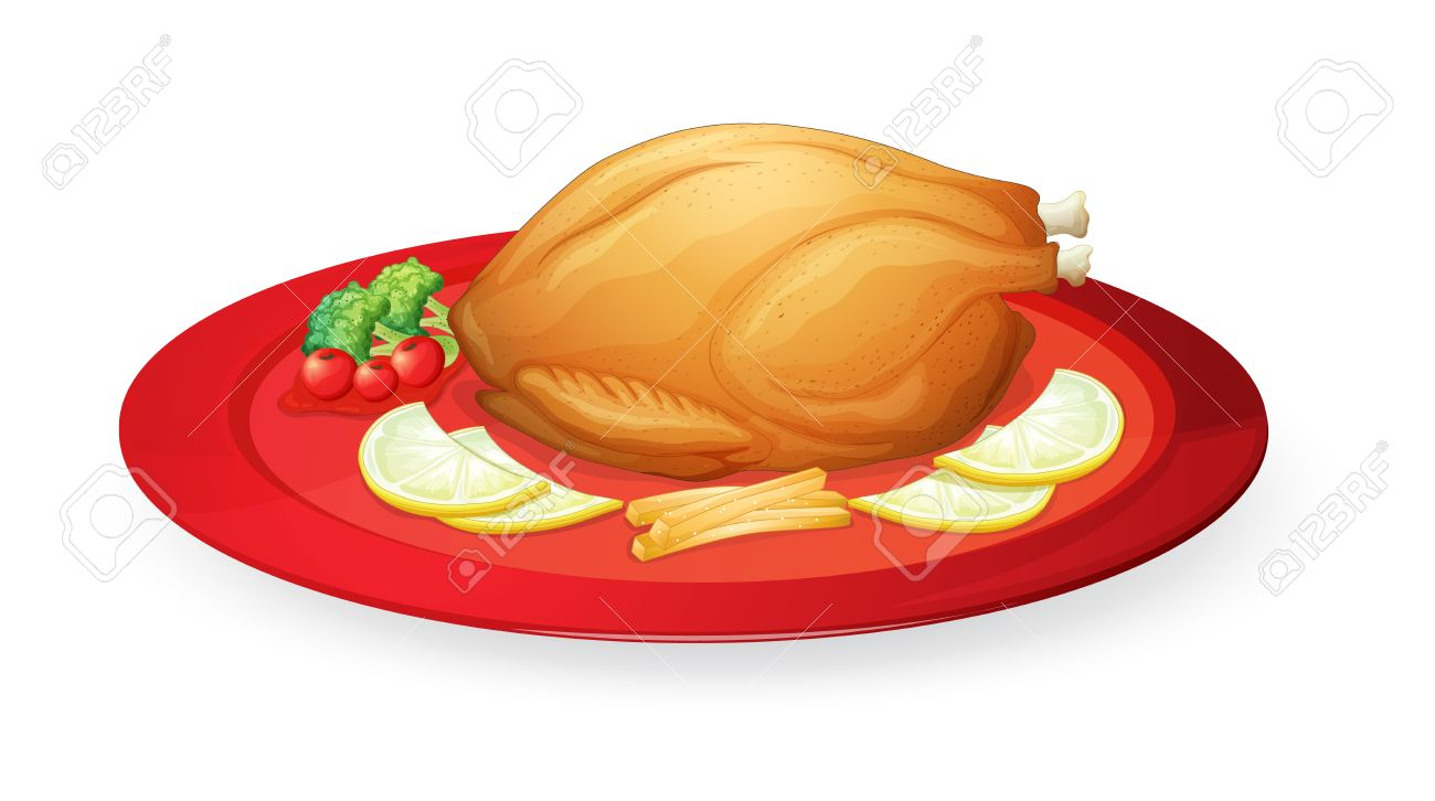 Illustration Of Chicken Flesh In A Dish On A White Background.