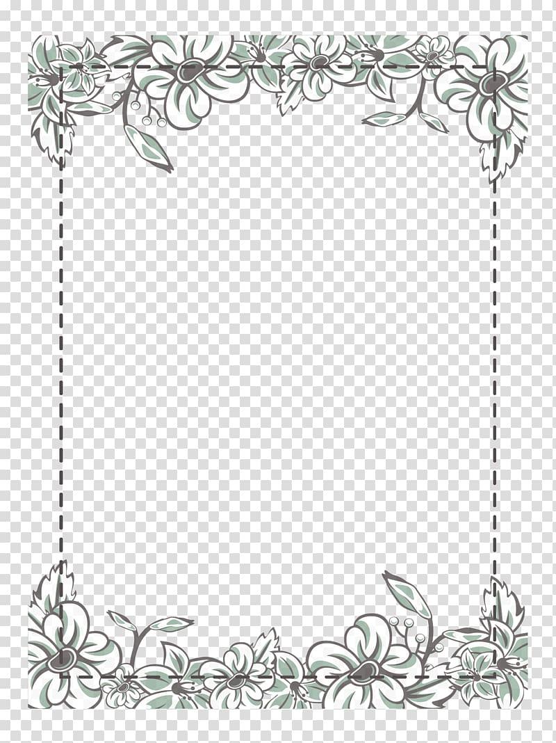 Gray floral borders illustration, Flower Icon, White flower.