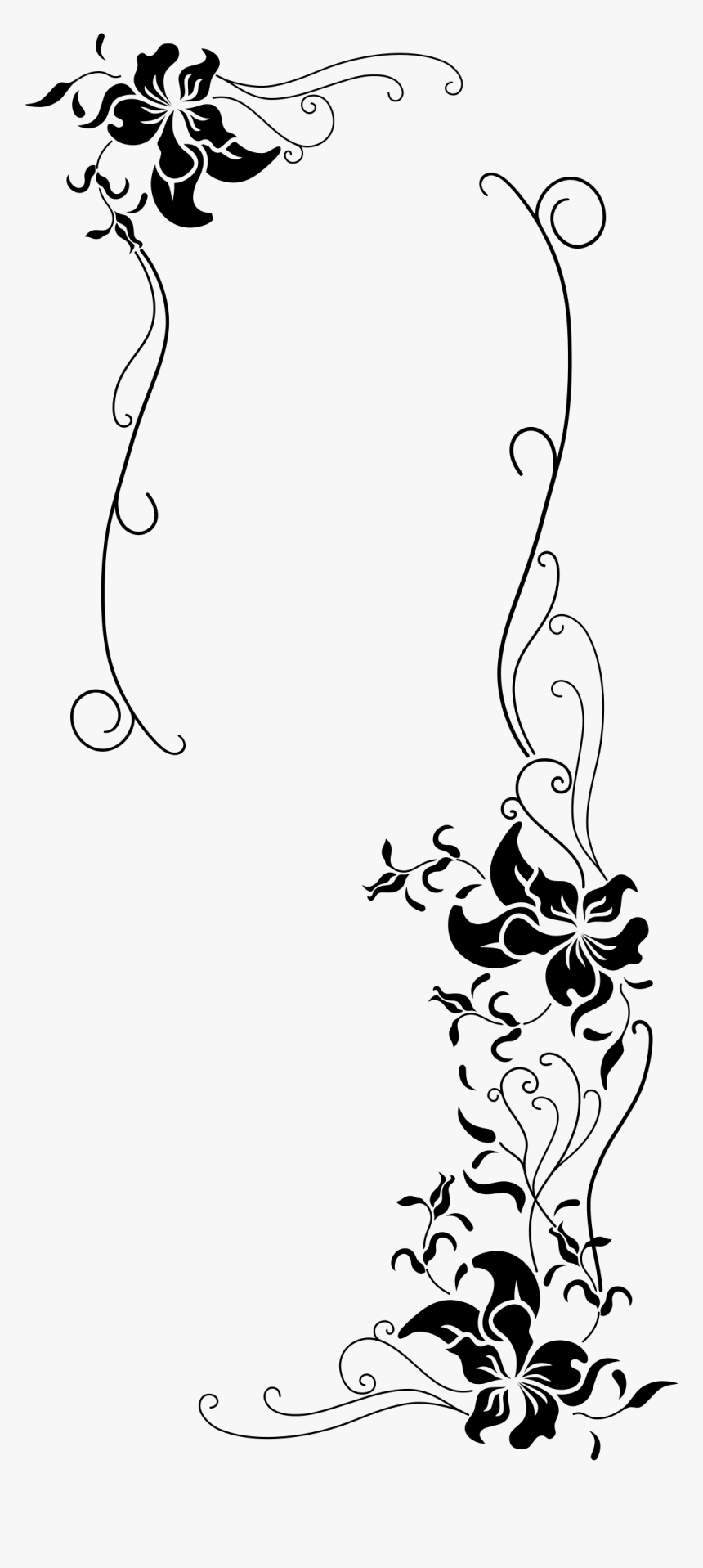Black And White Floral Borders , Png Download.