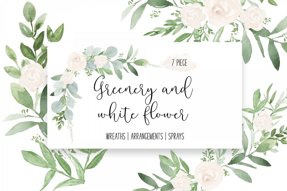 Greenery & White Flower Greenery Wedding watercolor clip art.