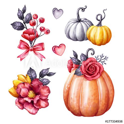 autumn watercolor pumpkin illustration, Halloween ornaments.