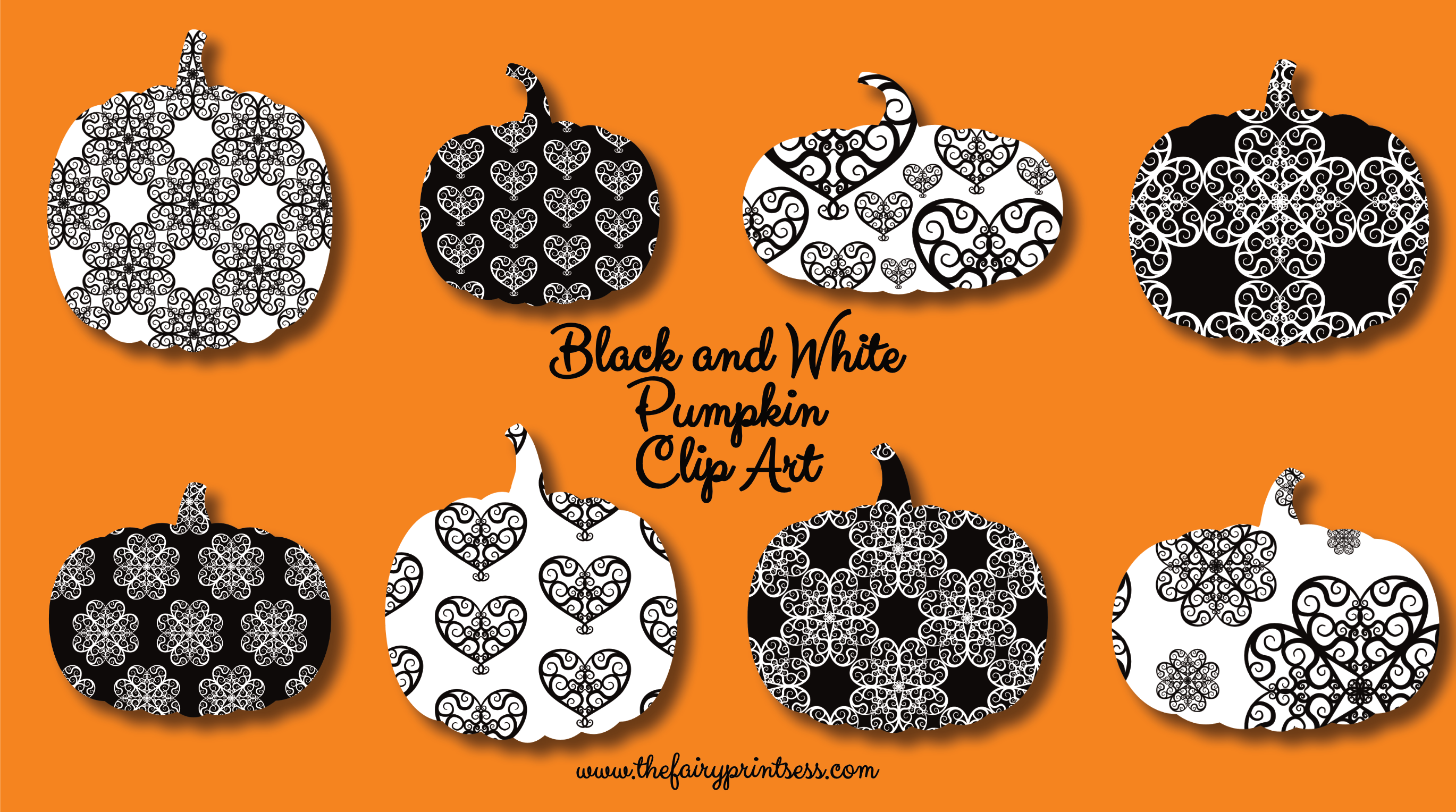 Black and White Pumpkin Clip Art.