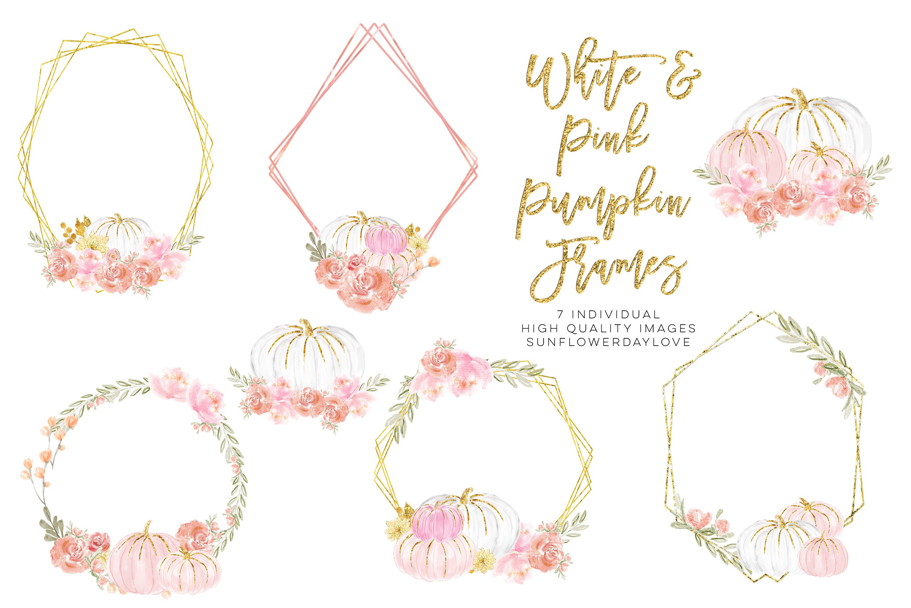 Watercolor Floral Frame Clipart, White and Pink Pumpkins By.