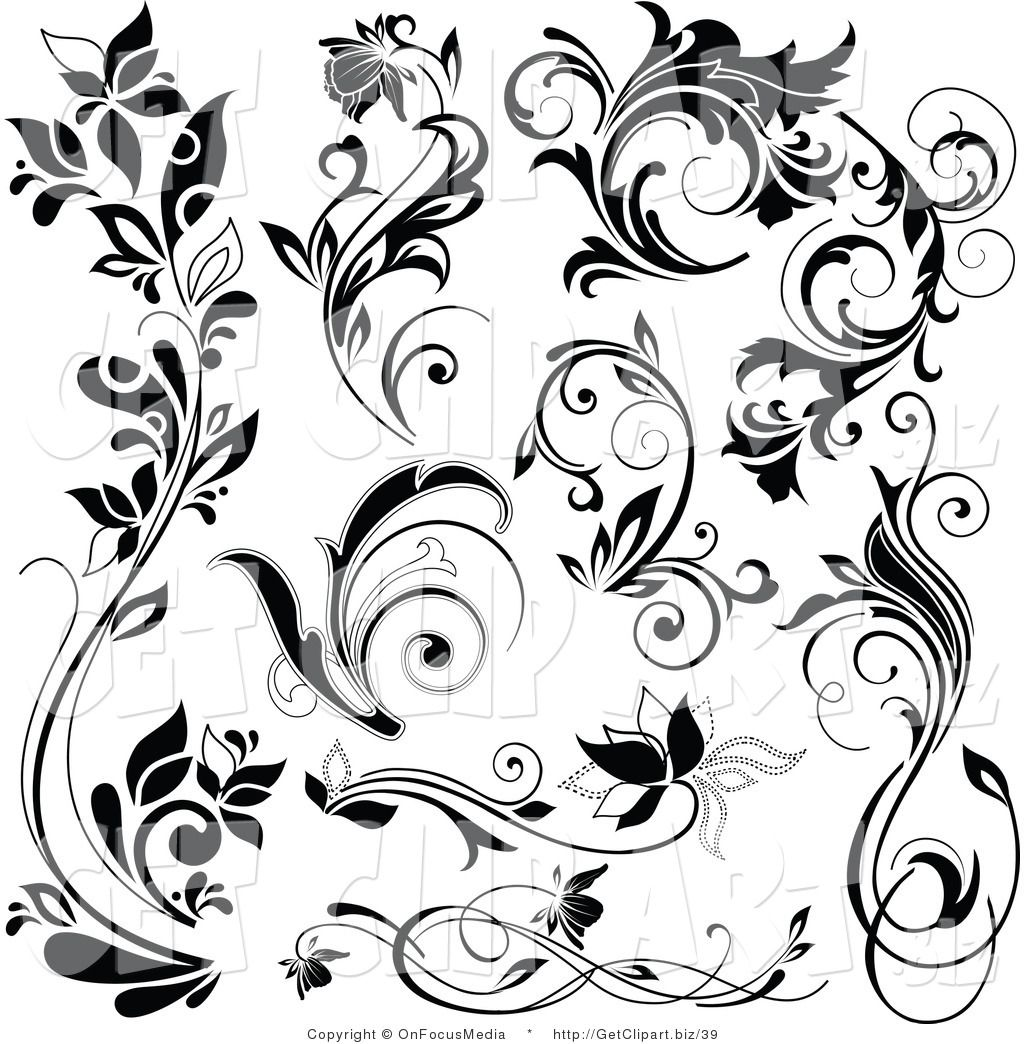 Free Flourish Clip Art Black and White.