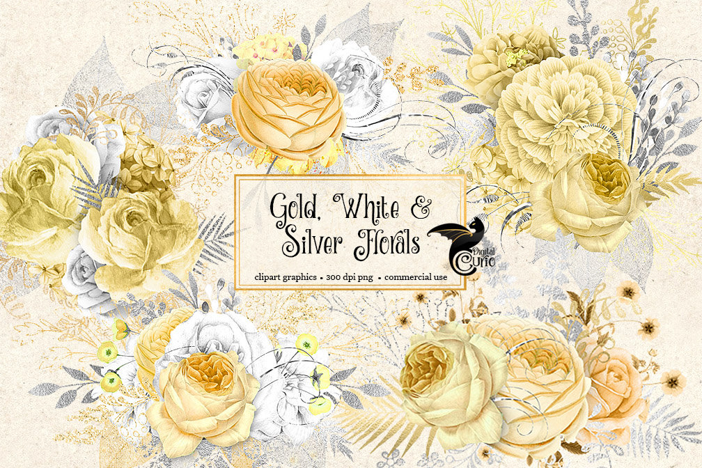 Gold, White and Silver Floral Clip Art.
