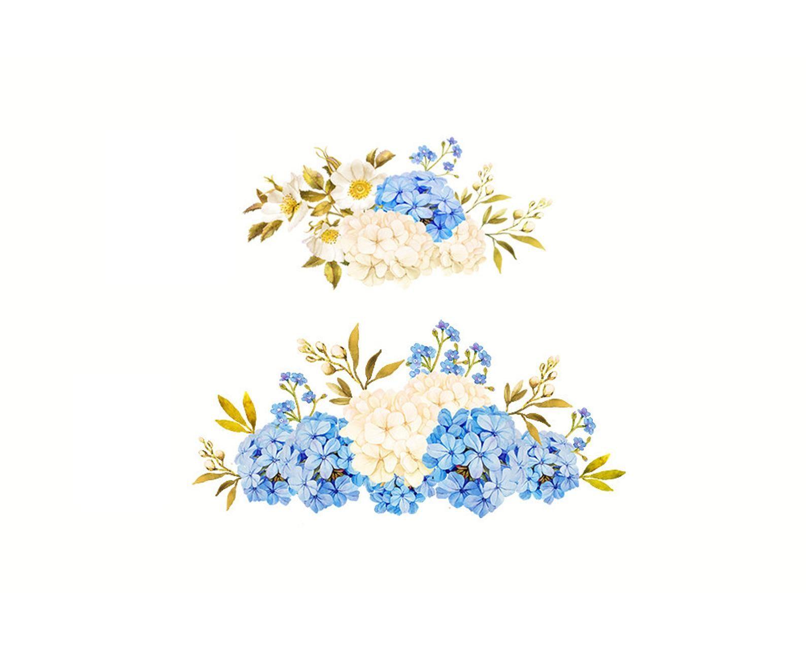 Flower watercolor clipart Floral Clipart Blue jasmine.