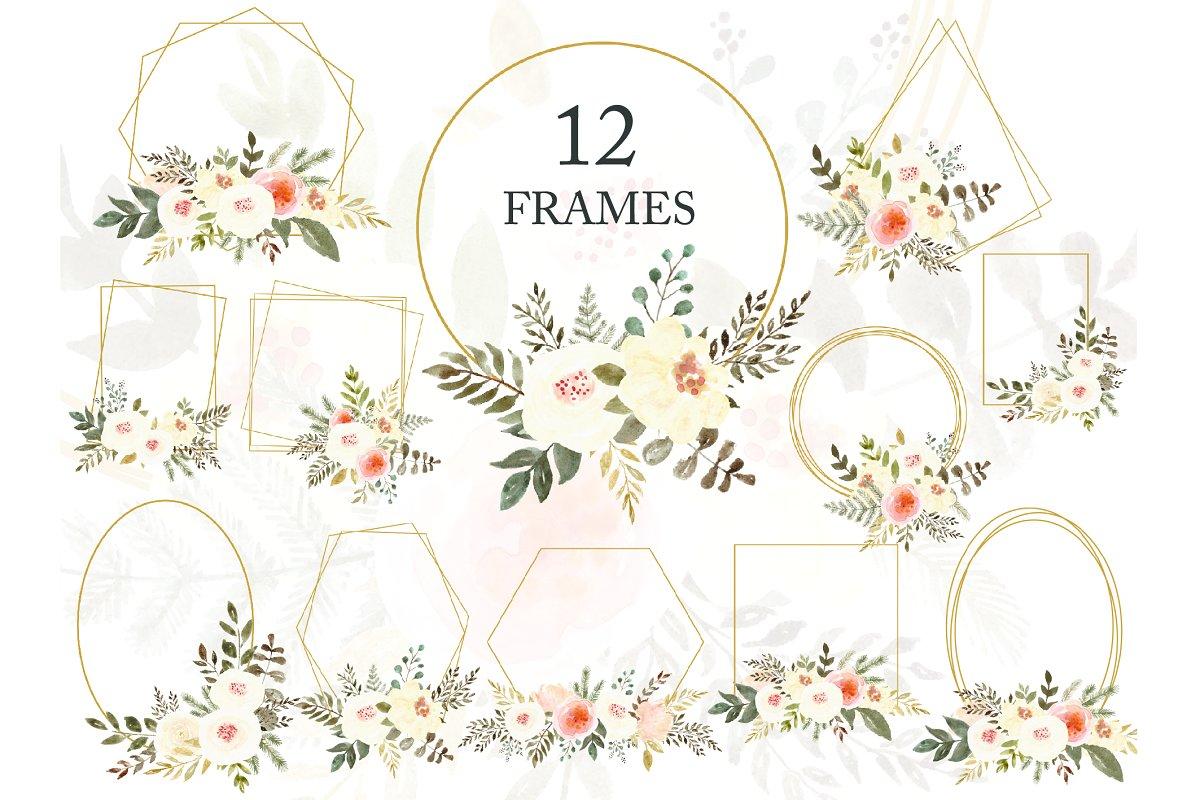 Golden Frames White Flowers Clipart.