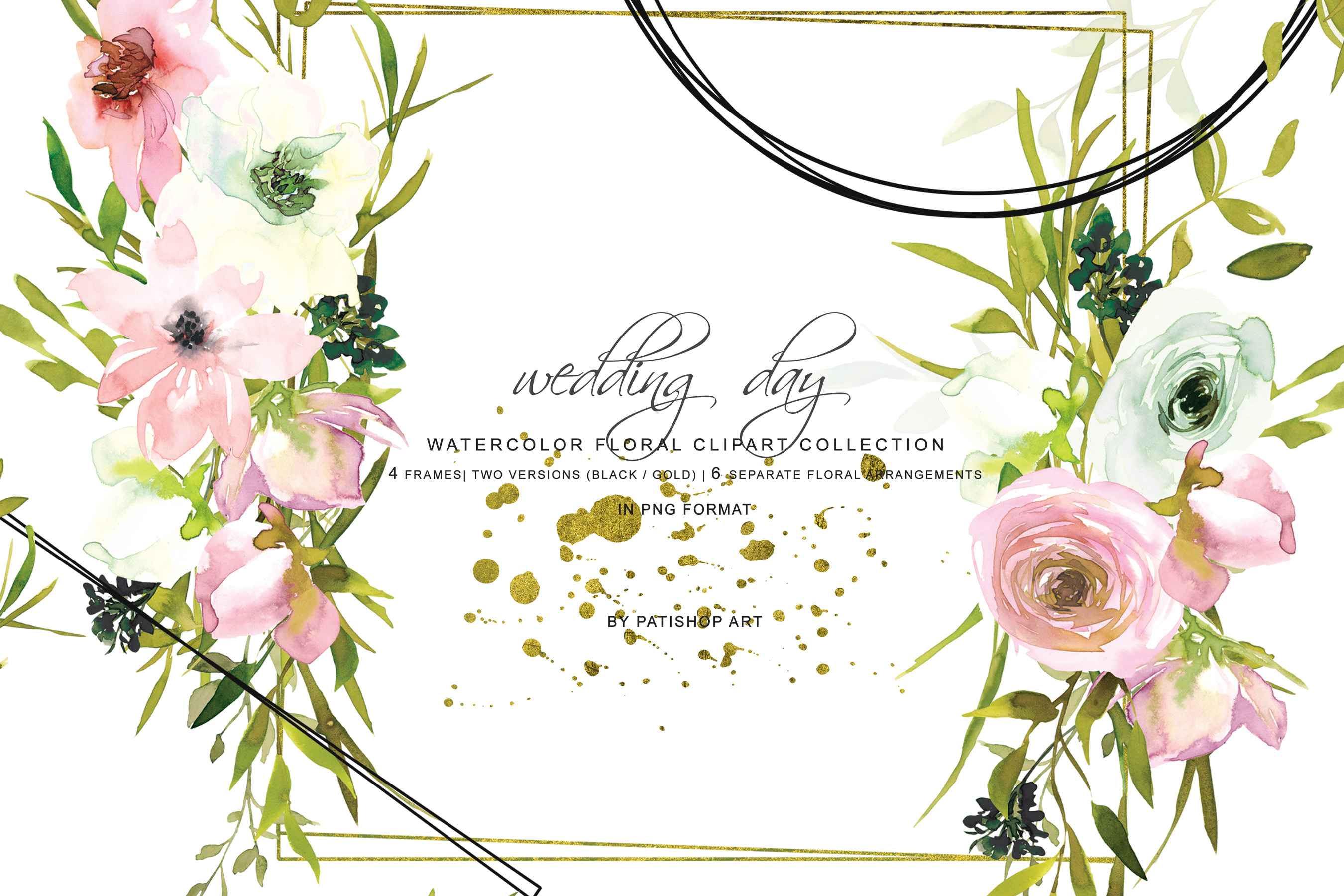Hand Painted Watercolor Blush and White Rose Clipart.