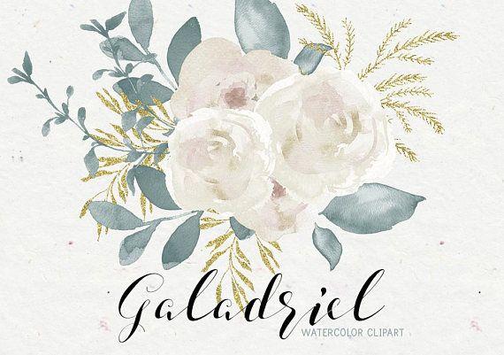White flowers clipart, floral clipart, watercolor clipart.