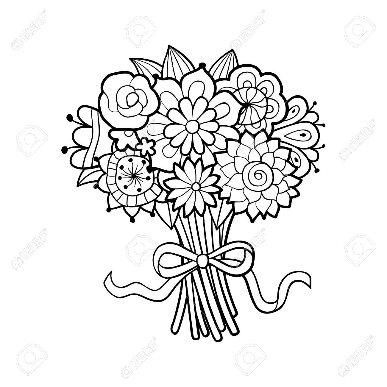 Black And White Flower Bouquet Clipart.