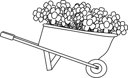 Black and White Wheelbarrow Filled with Flowers Clip Art.