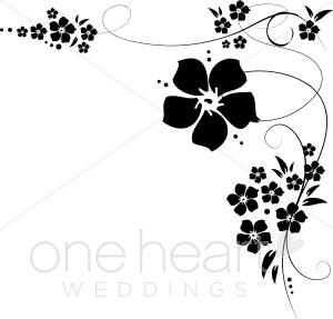 Black and White Flower Corner Flourishes Clipart.