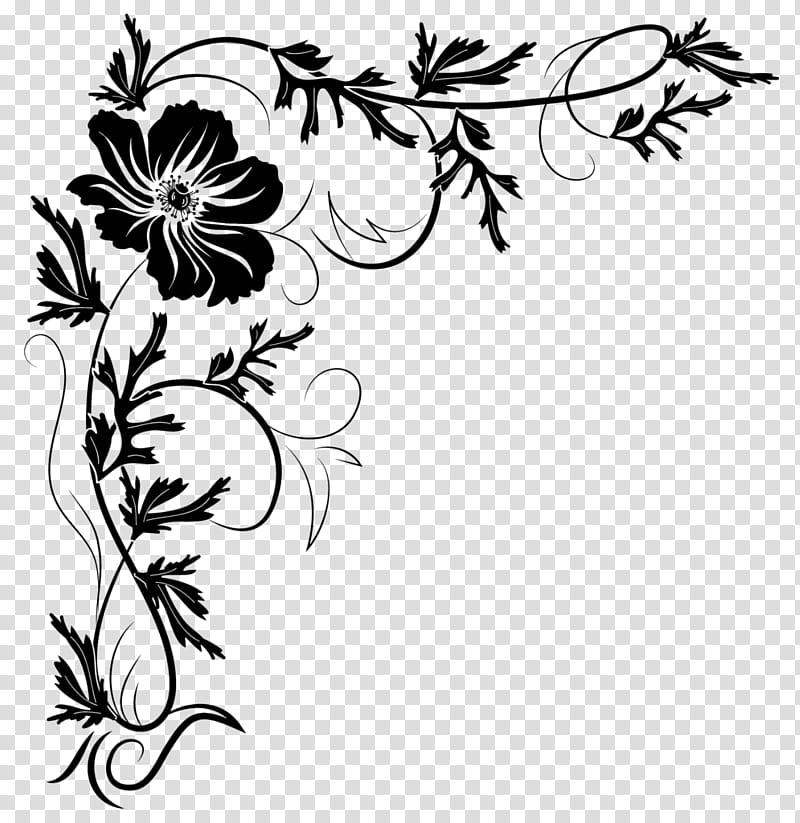 Corners , black flower illustration transparent background.