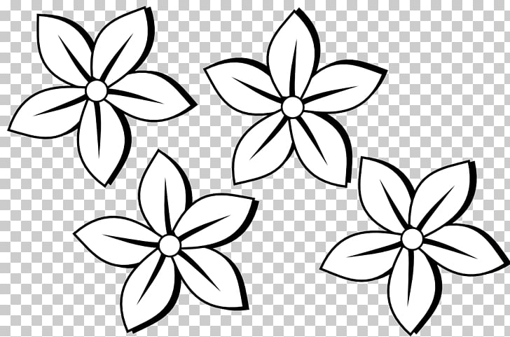 Black and white Flower , Simple Flowers PNG clipart.