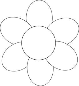 Flower Six Petals Black Outline clip art.