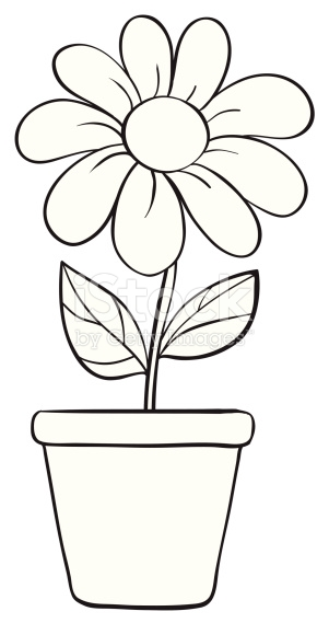 Black And White Flower Pot Clipart.