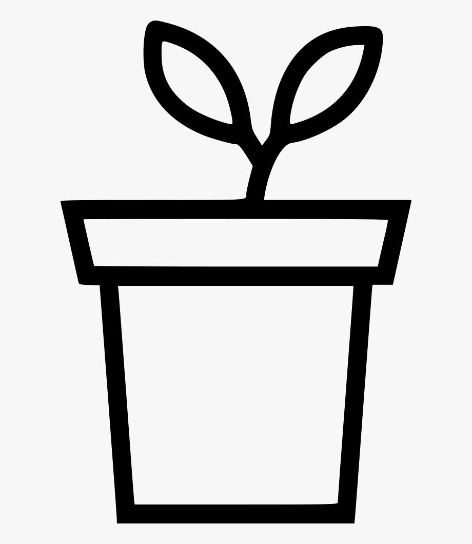 Clipart Flower Pot Black And White.