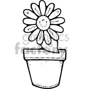 black and white flower pot daisy clipart. Royalty.