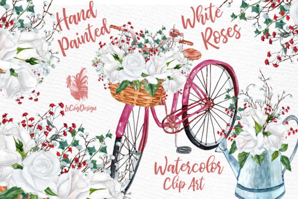 Watercolor roses clipart White flowers clipart White Roses clipart Wedding  invitation DIY invites.