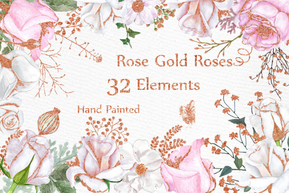 Rose Gold watercolor flowers clipart FLORAL CLIPART White flowers  Watercolor roses.