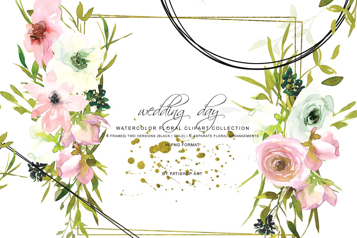 Watercolor Blush & White Rose Frames ~ Illustrations.